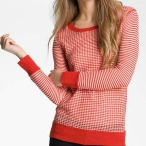 Joie Thin Waffle Knit Alpaca Red Sweater